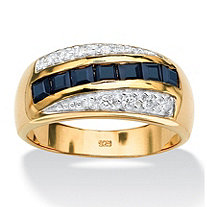 Men's 1.95 TCW Genuine Blue Sapphire and Pave-Style Cubic Zirconia Ring in 18k Gold over Sterling Silver