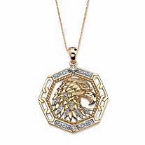 Men's Diamond Accent Eagle Pendant Necklace in Solid 10k Yellow Gold 18