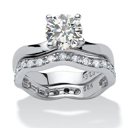 Round Cubic Zirconia Platinum over .925 Sterling Silver 2-Piece Free-Form Bridal Set at PalmBeach Jewelry