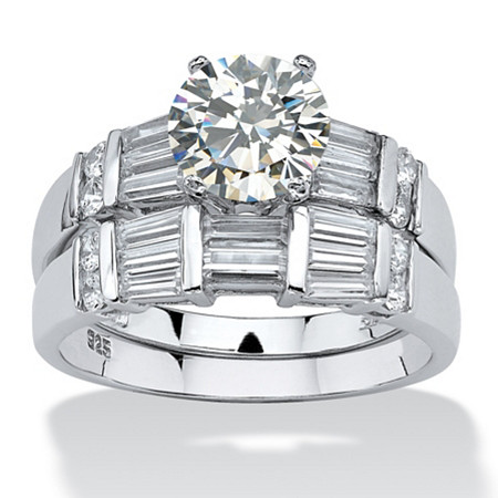 3.11 TCW Round Cubic Zirconia Platinum over Sterling Silver 2-Piece Wedding Ring Set at PalmBeach Jewelry