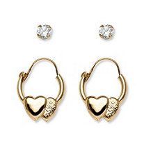 Child's .20 TCW Round Cubic Zirconia 14k Yellow Gold 2-Pairs Heart Hoop Earrings Set (1/2
