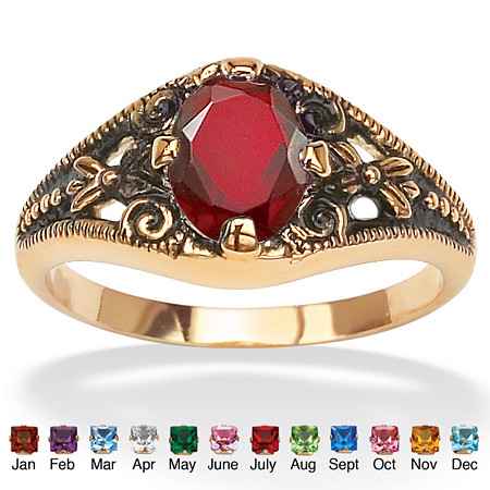 Oval-Cut Birthstone Filigree Ring in Antiqued 14k Gold-Plated at PalmBeach Jewelry