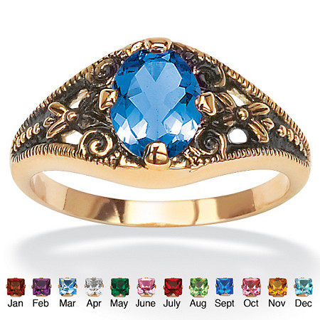 Oval-Cut Simulated Birthstone Filigree Ring in Antiqued 14k Gold-Plated at PalmBeach Jewelry