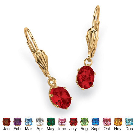 Oval-Cut Birthstone Drop Earrings in Yellow Gold Tone at PalmBeach Jewelry