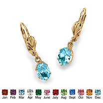 Oval Cut Birthstone Drop Earrings In Yellow Gold Tone