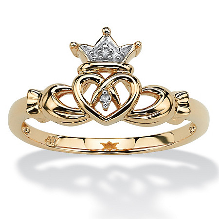 Diamond Accent 10k Yellow Gold Traditional Celtic Symbol Claddagh Ring at PalmBeach Jewelry