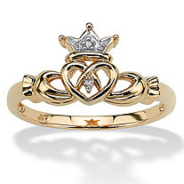 SETA JEWELRY Diamond Accent 10k Yellow Gold Traditional Celtic Symbol Claddagh Ring