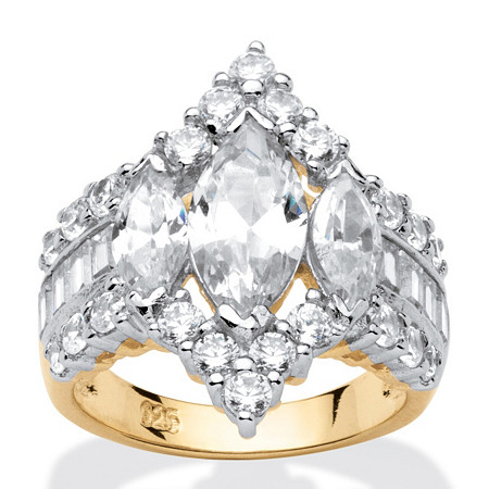 4.91 TCW Marquise-Cut Cubic Zirconia 18k Gold over Sterling Silver Ring at PalmBeach Jewelry