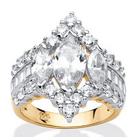 4.91 TCW Marquise-Cut Cubic Zirconia 18k Gold Over Sterling Silver Ring ONLY $44.99