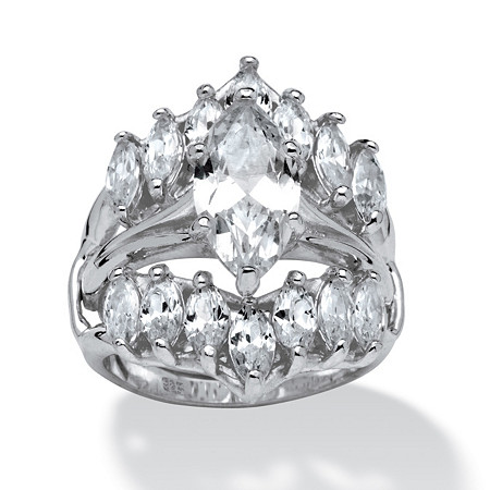 5.98 TCW Marquise-Cut Cubic Zirconia Sterling Silver Bridal Engagement Ring Set at PalmBeach Jewelry