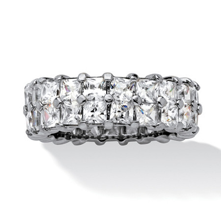 6.72 TCW Princess-Cut Cubic Zirconia Platinum over Sterling Silver Double Row Eternity Ring at PalmBeach Jewelry