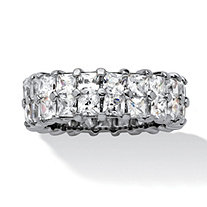 SETA JEWELRY 6.72 TCW Princess-Cut Cubic Zirconia Platinum over Sterling Silver Double Row Eternity Ring