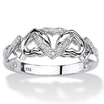 SETA JEWELRY Diamond Accent Interlocking Hearts Promise Ring in Platinum over Sterling Silver