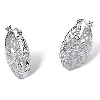 .925 Sterling Silver Filigree Leaf Hoop Earrings