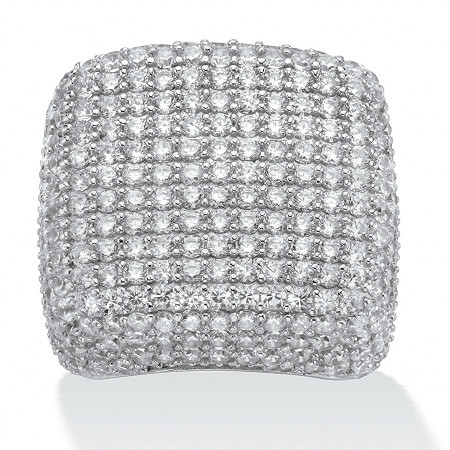 6.76 TCW Round Cubic Zirconia Pave Sterling Silver Dome Ring at PalmBeach Jewelry