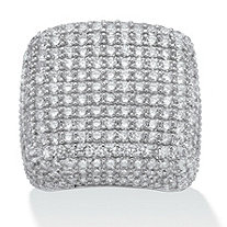 6.76 TCW Round Cubic Zirconia Pave Sterling Silver Dome Ring