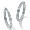 Related Item 4.50 TCW Round Cubic Zirconia Inside-Out Double Row Hoop Earrings in Silvertone (2