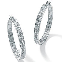 "4.50 TCW Round Cubic Zirconia Inside-Out Double Row Hoop Earrings in Silvertone (2"")"