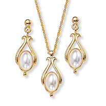 Oval Pearl Drop Pendant Necklace and Earrings Set in Yellow Gold Tone