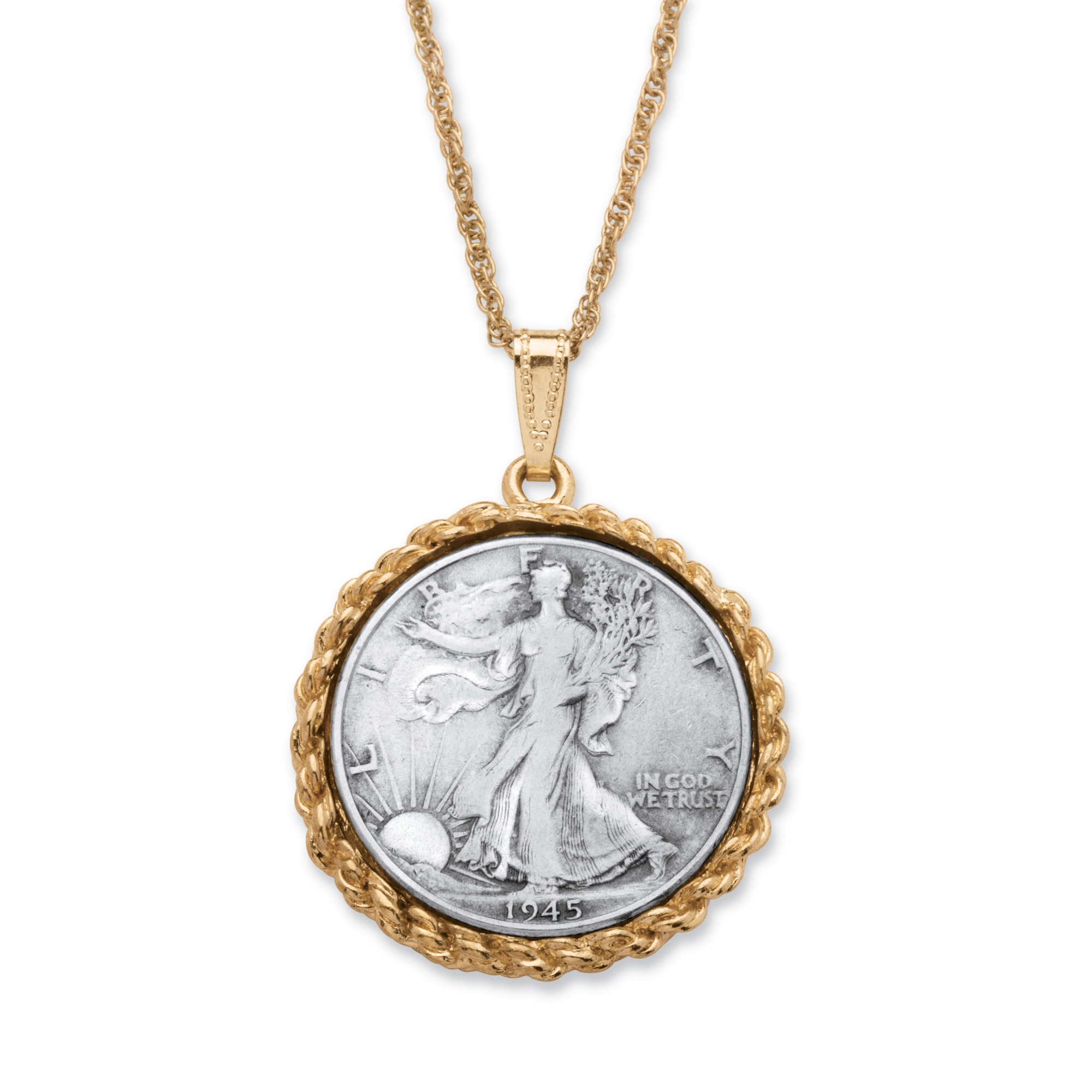 Genuine Half Dollar Year To Remember Pendant Necklace In