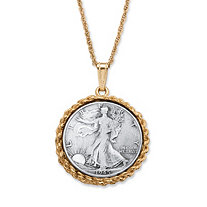 Genuine Half Dollar Pendant Necklace in Yellow Gold Tone 24