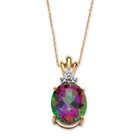 6 TCW Oval-Cut Genuine Fire Topaz Necklace in 10k Yellow Gold at PalmBeach Jewelry