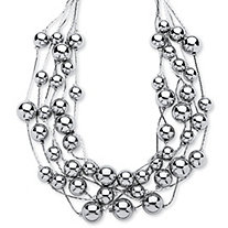 Silvertone Beaded Collar Necklace Adjustable 17
