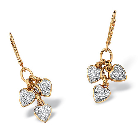 Diamond Accent Heart Charm Drop Earrings in 18k Gold over .925 Sterling Silver at PalmBeach Jewelry