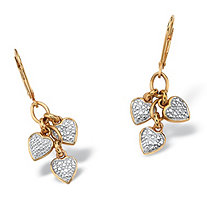 SETA JEWELRY Diamond Accent Heart Charm Drop Earrings in 18k Gold over .925 Sterling Silver