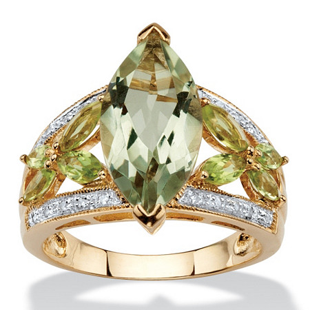 4.83 TCW Marquise-Cut Genuine Green Amethyst and Peridot 10k Gold Ring at PalmBeach Jewelry