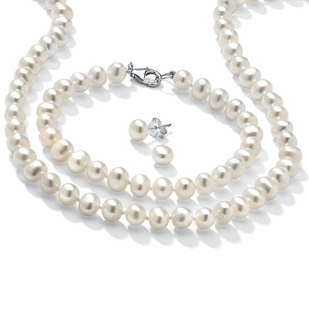 3 Piece Cultured Freshwater Pearl Necklace Bracelet and Earrings Set in Sterling Silver at PalmBeach Jewelry