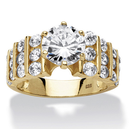3.36 TCW Round Cubic Zirconia 14k Gold over Sterling Silver Ring at PalmBeach Jewelry
