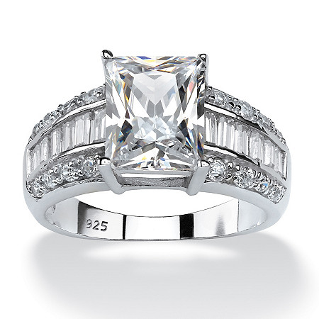 4.94 TCW Emerald-Cut Cubic Zirconia Engagement Anniversary Ring in Platinum over Sterling Silver at PalmBeach Jewelry