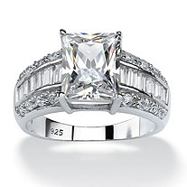 SETA JEWELRY 4.94 TCW Emerald-Cut Cubic Zirconia Engagement Anniversary Ring in Platinum over Sterling Silver
