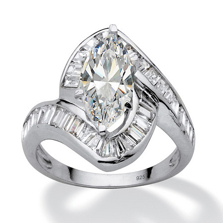 4.93 TCW Marquise-Cut Cubic Zirconia Platinum over Sterling Silver Channel-Set Ring at PalmBeach Jewelry