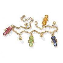 Multicolor Crystal Enamel Flip-Flop Ankle Bracelet in Yellow Gold Tone