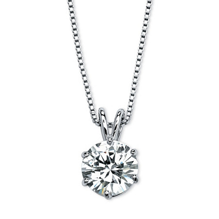 "3 TCW Round Solitaire Cubic Zirconia Necklace in Platinum over .925 Sterling Silver 18"" at PalmBeach Jewelry"