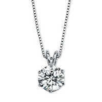 Round Solitaire Cubic Zirconia Necklace In Platinum Over Silver ONLY $14.55