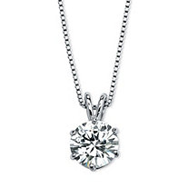SETA JEWELRY 3 TCW Round Solitaire Cubic Zirconia Necklace in Platinum over .925 Sterling Silver 18