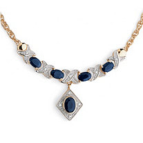 "3.40 TCW Genuine Oval-Cut Midnight Blue Sapphire ""X & O"" Necklace in 18k Gold over Sterling Silver"