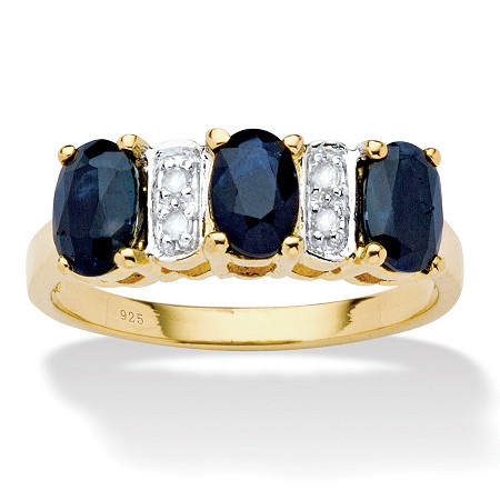 1.80 TCW Oval-Cut Genuine Blue Sapphire and Diamond Accent Ring in 18k Gold Over Sterling Silver at PalmBeach Jewelry