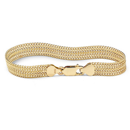 "18k Gold over Sterling Silver Mesh Bracelet 7 1/4"" at PalmBeach Jewelry"
