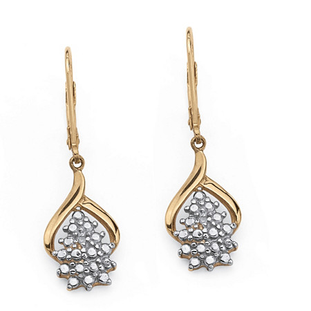 Diamond Accent Cluster Drop Earrings in 18k Gold over Sterling Silver at PalmBeach Jewelry