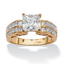 2.42 TCW Princess-Cut Cubic Zirconia Engagement Anniversary Ring in 18k Gold over Sterling Silver