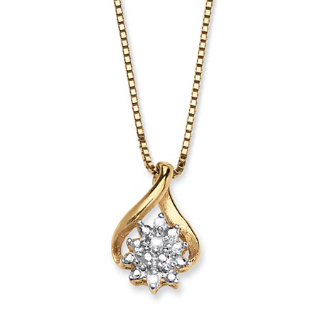 "Diamond Accent Cluster Pendant Necklace in 18k Gold over Sterling Silver 18"" at PalmBeach Jewelry"