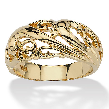 18k Gold over Sterling Silver Swirl Dome Ring at PalmBeach Jewelry