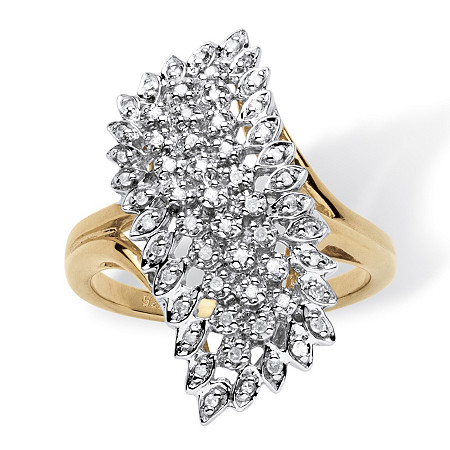 1/7 TCW Round Pave Diamond Cluster Ring in 18k Gold over Sterling Silver at Direct Charge presents PalmBeach