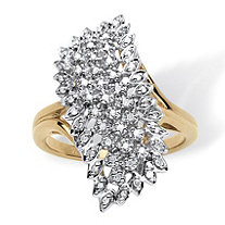 1/7 TCW Round Pave Diamond Cluster Ring in 18k Gold over Sterling Silver