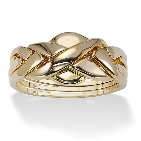 Puzzle Ring in 18k Gold over Sterling Silver  KEEP Ring Assembled Unless You Like a Challenge! at PalmBeach Jewelry