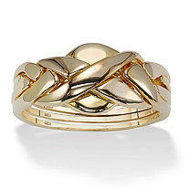 Puzzle Ring in 18k Gold over Sterling Silver KEEP Ring Assembled Unless You Like a Challenge!
